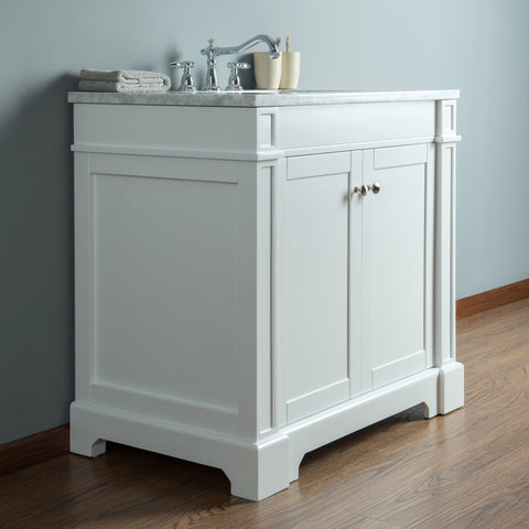Stufurhome Seine 36 Inches White Single Sink Bathroom