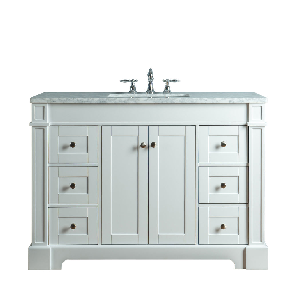 Stufurhome Seine 48 Inches White Single Sink Bathroom