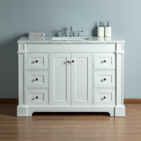 Stufurhome Seine 48 Inches White Single Sink Bathroom Vanity