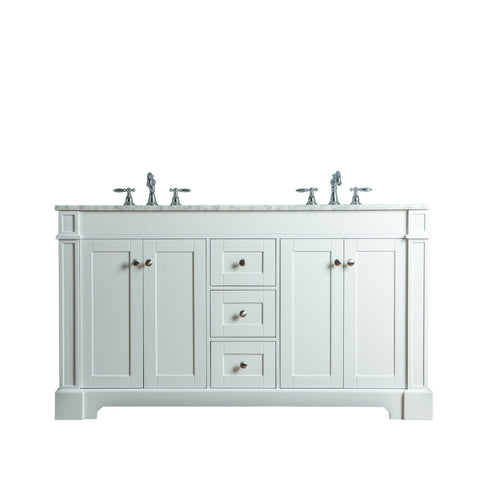 Stufurhome Seine 60 Inches White Double Sink Bathroom Vanity