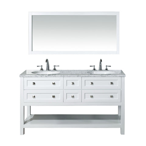 Stufurhome Marla 60 inch Double Sink Bathroom Vanity with Mirror