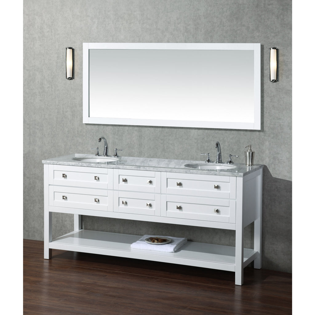 Stufurhome Marla 72 inch Double Sink Bathroom Vanity with Mirror