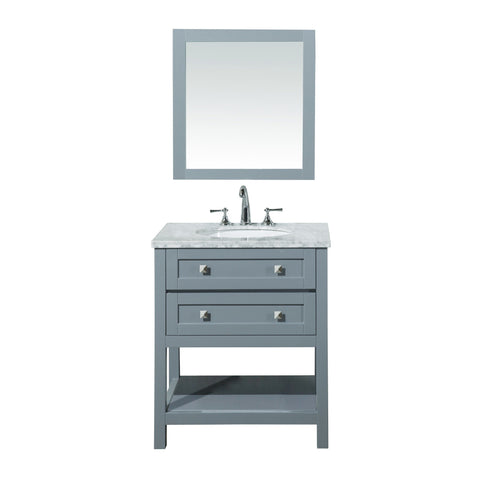 Stufurhome Marla 30 inch Single Sink Bathroom Vanity with Mirror in Grey