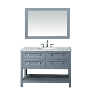 Stufurhome Marla 48 inch Single Sink Bathroom Vanity with Mirror in Grey