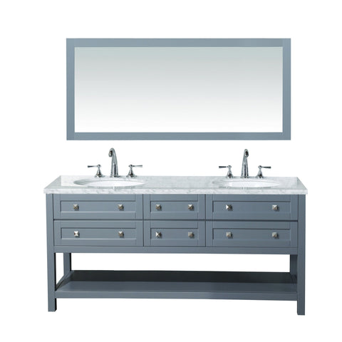 Stufurhome Marla 72 inch Double Sink Bathroom Vanity with Mirror in Grey