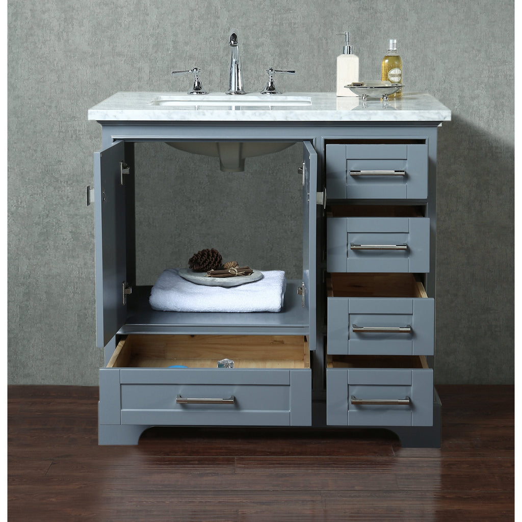 Stufurhome Newport Grey 36 Inch Single Sink Bathroom