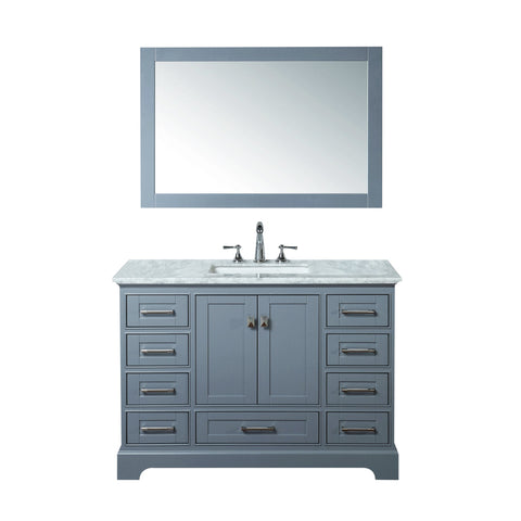 Stufurhome Newport Grey 48 inch Single Sink Bathroom Vanity with Mirror