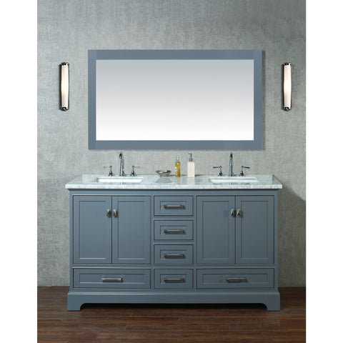 Stufurhome Newport Grey 60 inch Double Sink Bathroom Vanity with Mirror