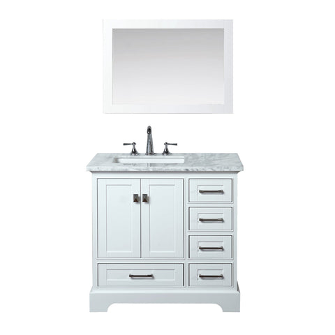 Stufurhome Newport White 36 inch Single Sink Bathroom Vanity with Mirror