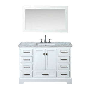 Stufurhome Newport White 48 inch Single Sink Bathroom Vanity with Mirror