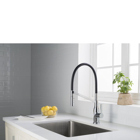 Stufurhome Vallant Kitchen Faucet w/ Spray Head Gooseneck Single Lever Mixer in Chrome