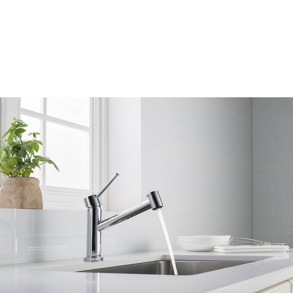 Stufurhome Metrolux Kitchen Faucet Set Chrome Single-Lever Mixer w/ Spray Head