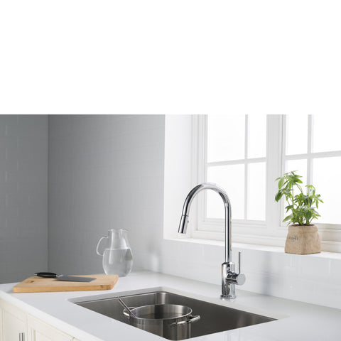 Stufurhome Brighton Kitchen Faucet w/ Spray Head Gooseneck Chrome Single Lever Mixer