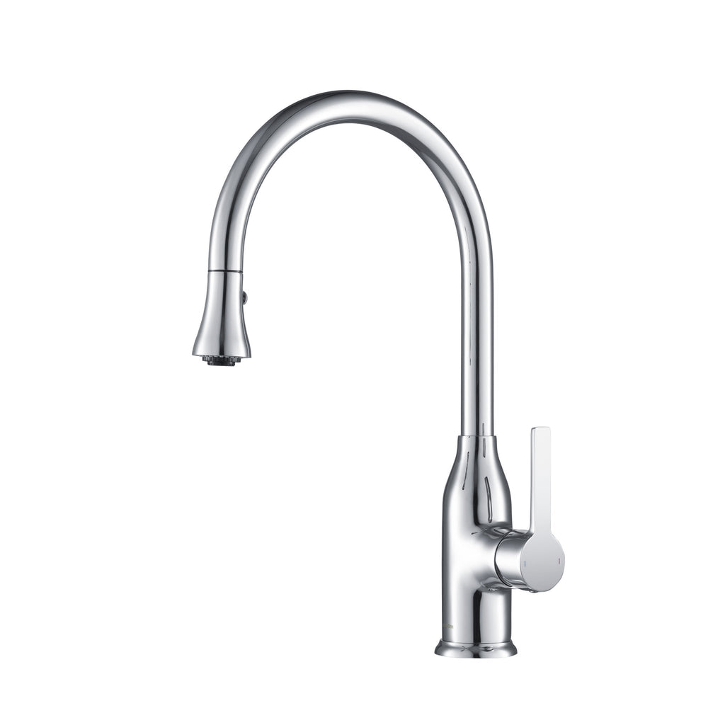 Stufurhome Everton Kitchen Faucet Gooseneck Single Lever Mixer in Chrome