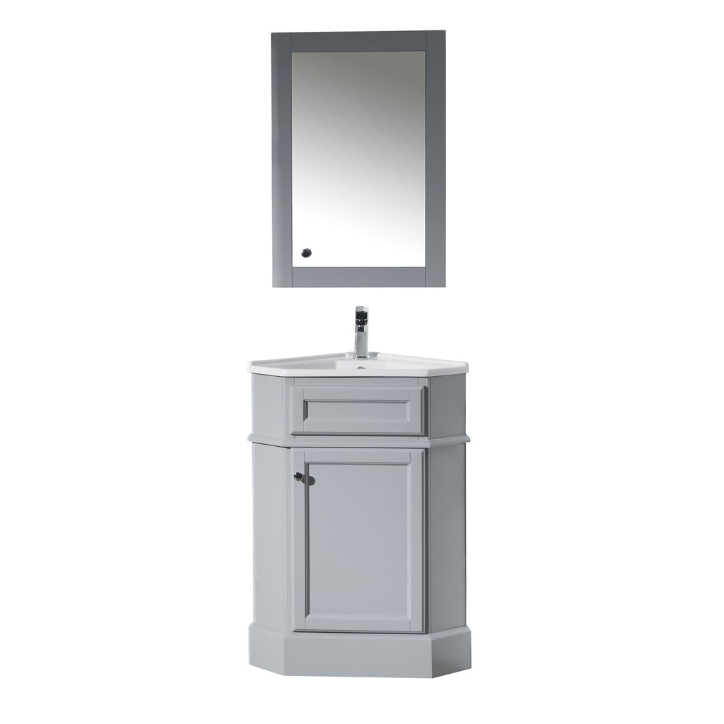 27 Inch Bathroom Vanities: Stufurhome Hampton Grey 27 Inch Corner Bathroom Vanity