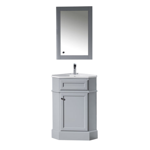 Stufurhome Hampton Grey 27 Inch Corner Bathroom Vanity with Medicine Cabinet