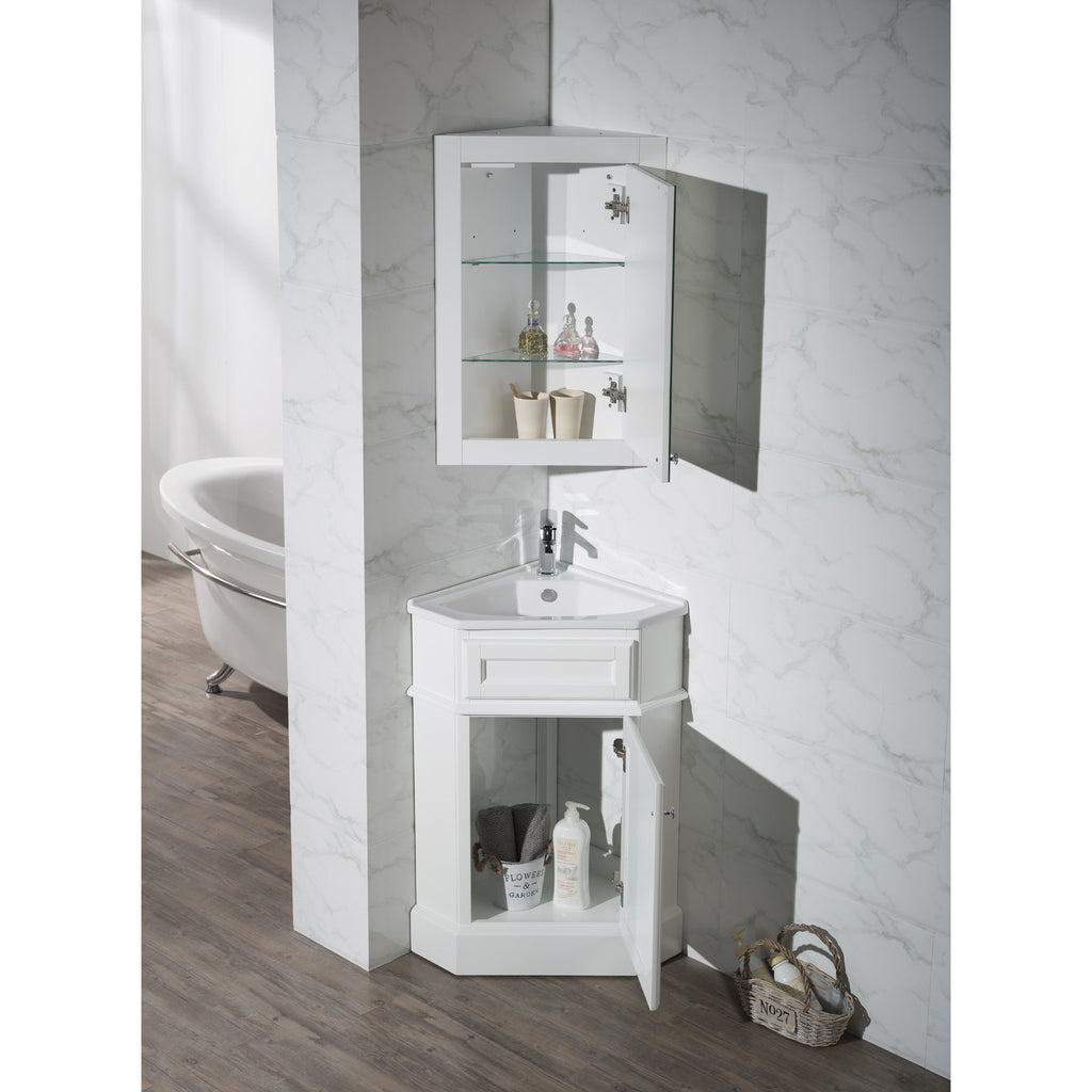 Stufurhome Hampton White 27 Inch Corner Bathroom Vanity With Medicine Stufurhome