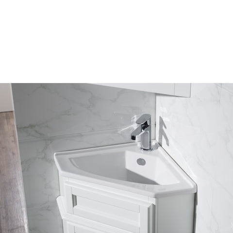 Stufurhome Hampton White 27 Inch Corner Bathroom Vanity with Medicine Cabinet