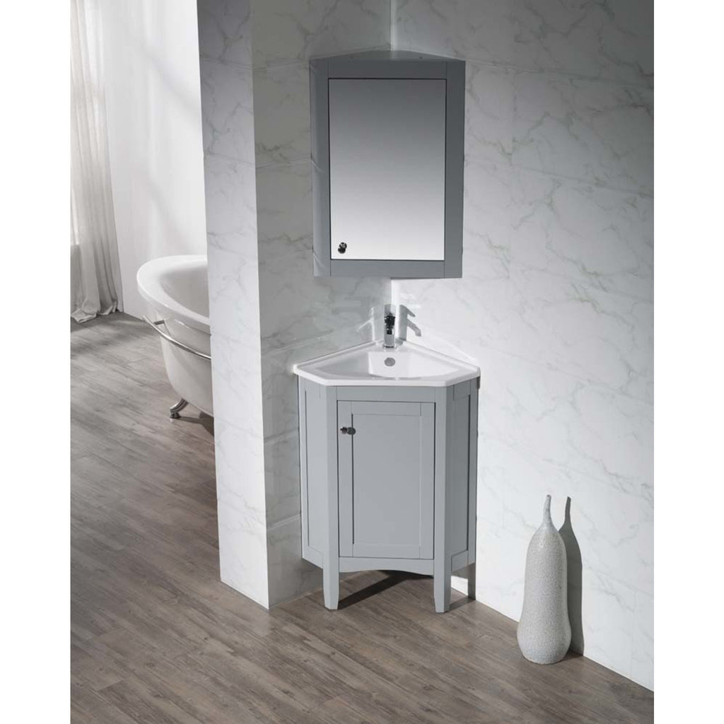 Stufurhome Monte Grey 25 Inch Corner Bathroom Vanity with Medicine Cabinet