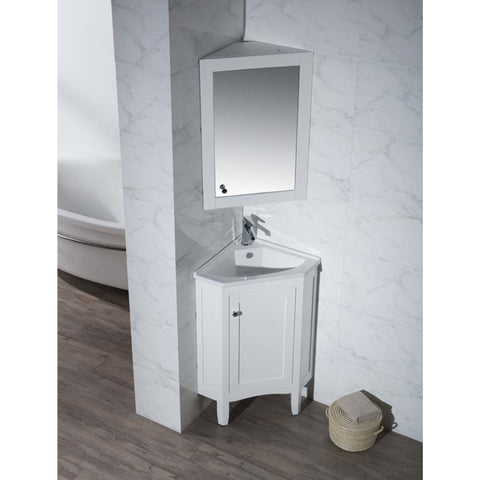Stufurhome Monte White 25 Inch Corner Bathroom Vanity with Medicine Cabinet