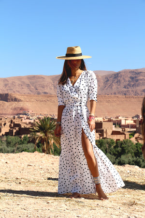 Hydra Polka-Dot Linen Maxi Dress