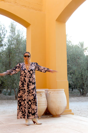 Rahal Printed Embellished Kaftan Dress