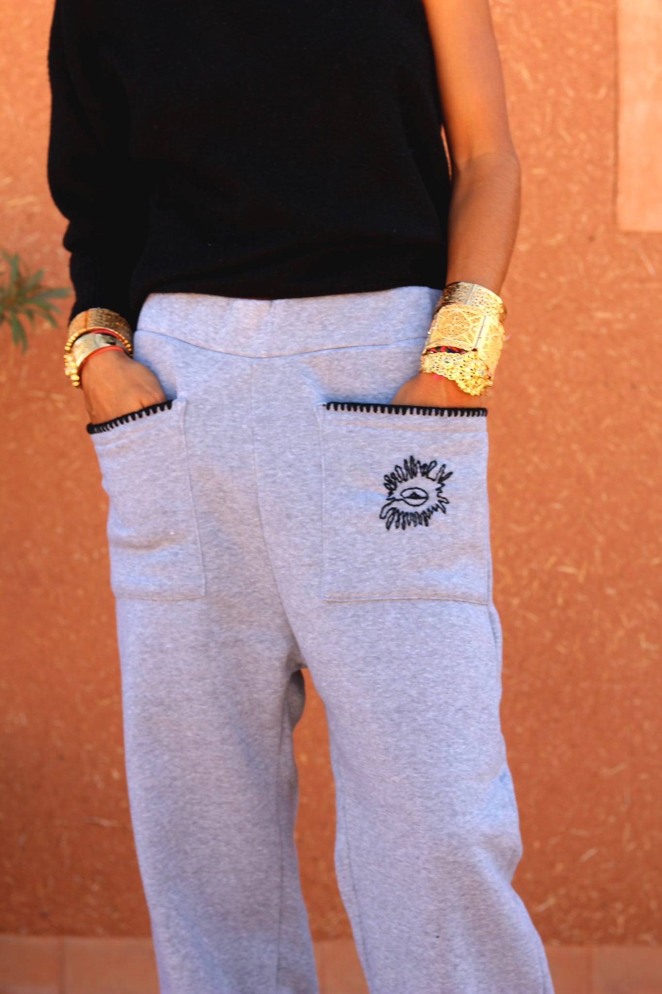 Izem Embroidered Track Pants