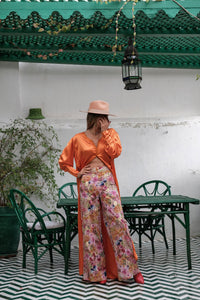 Ibn Battuta Embroidered Floral Print Crepe Wide Leg Pants