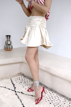Discover The Central Market Beige Silk-Satin Fluted Skirt