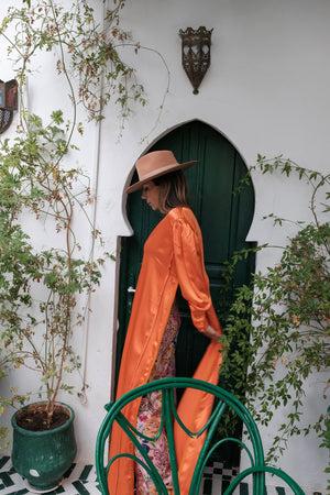 Lemoune Orange Crepe-Silk Kaftan Dress