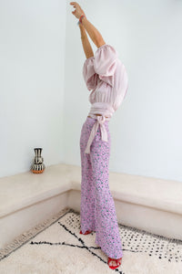 Get Lost in the Old Medina Pink Pastel Open-Back Silk-Satin Wrap Blouse