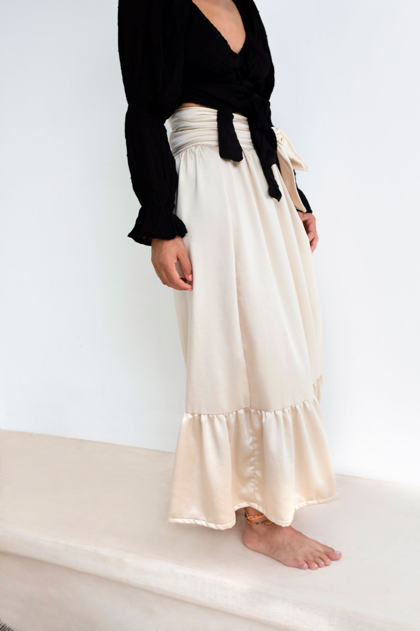 Casablanca Beige Silk-Satin Wrap Maxi Skirt