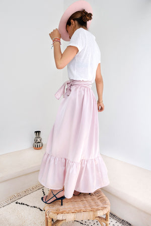 Shopping in Habous Pink Pastel Silk-Satin Wrap Maxi Skirt