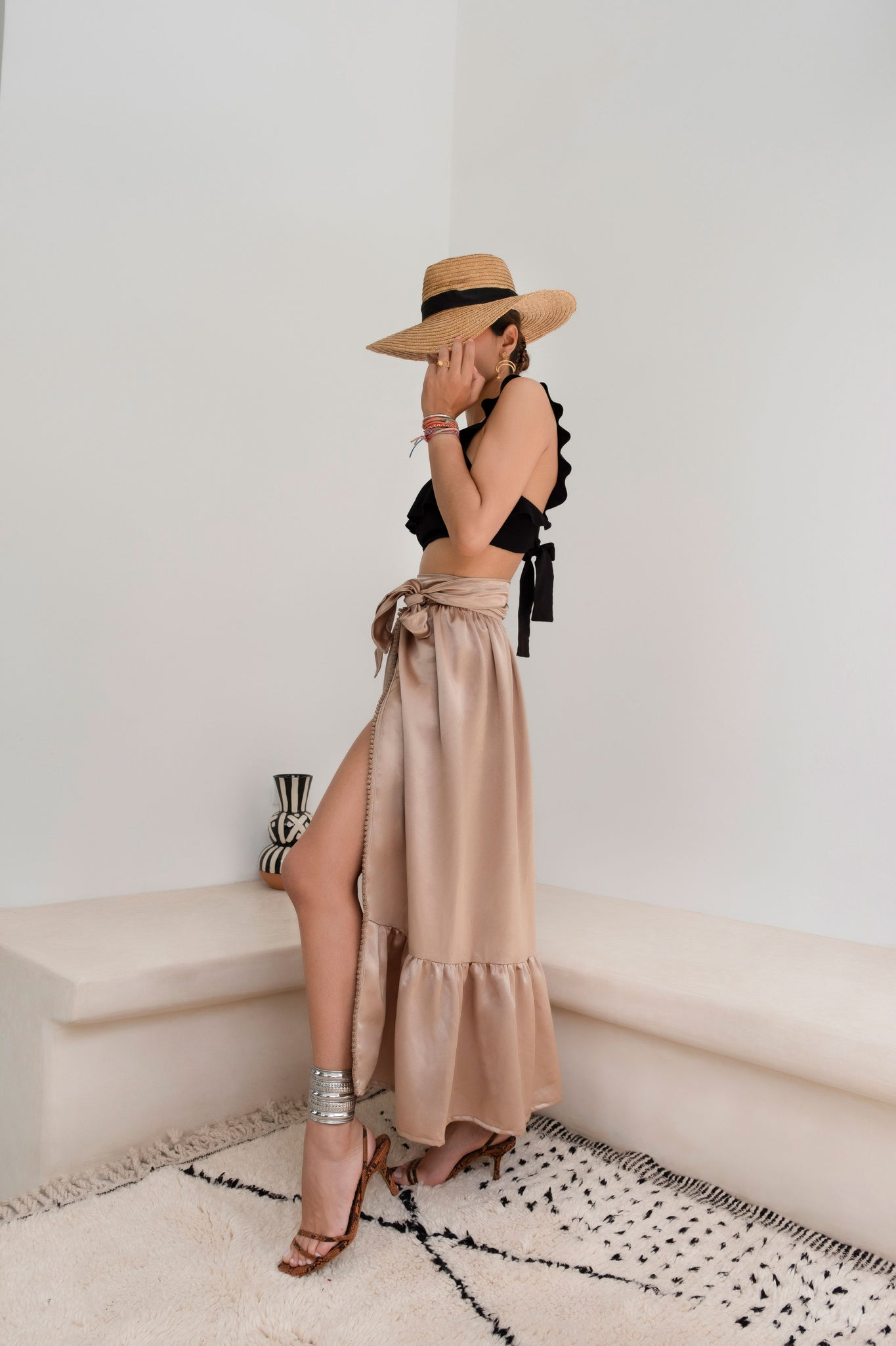 Walk in Arab League Park Brown Silk-Satin Wrap Maxi Skirt