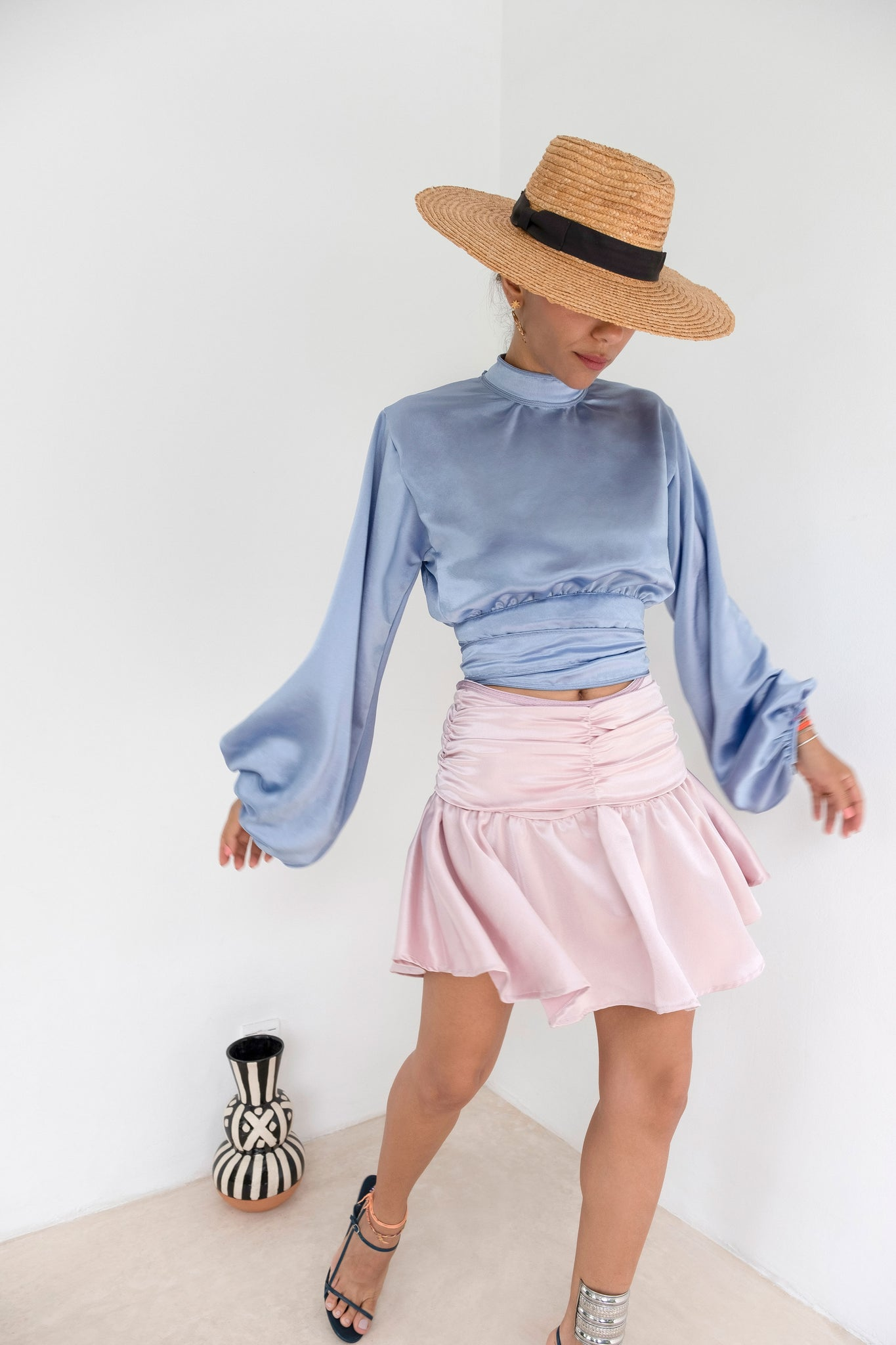 Lunch at la Sqala Pink Pastel Silk-Satin Fluted Skirt