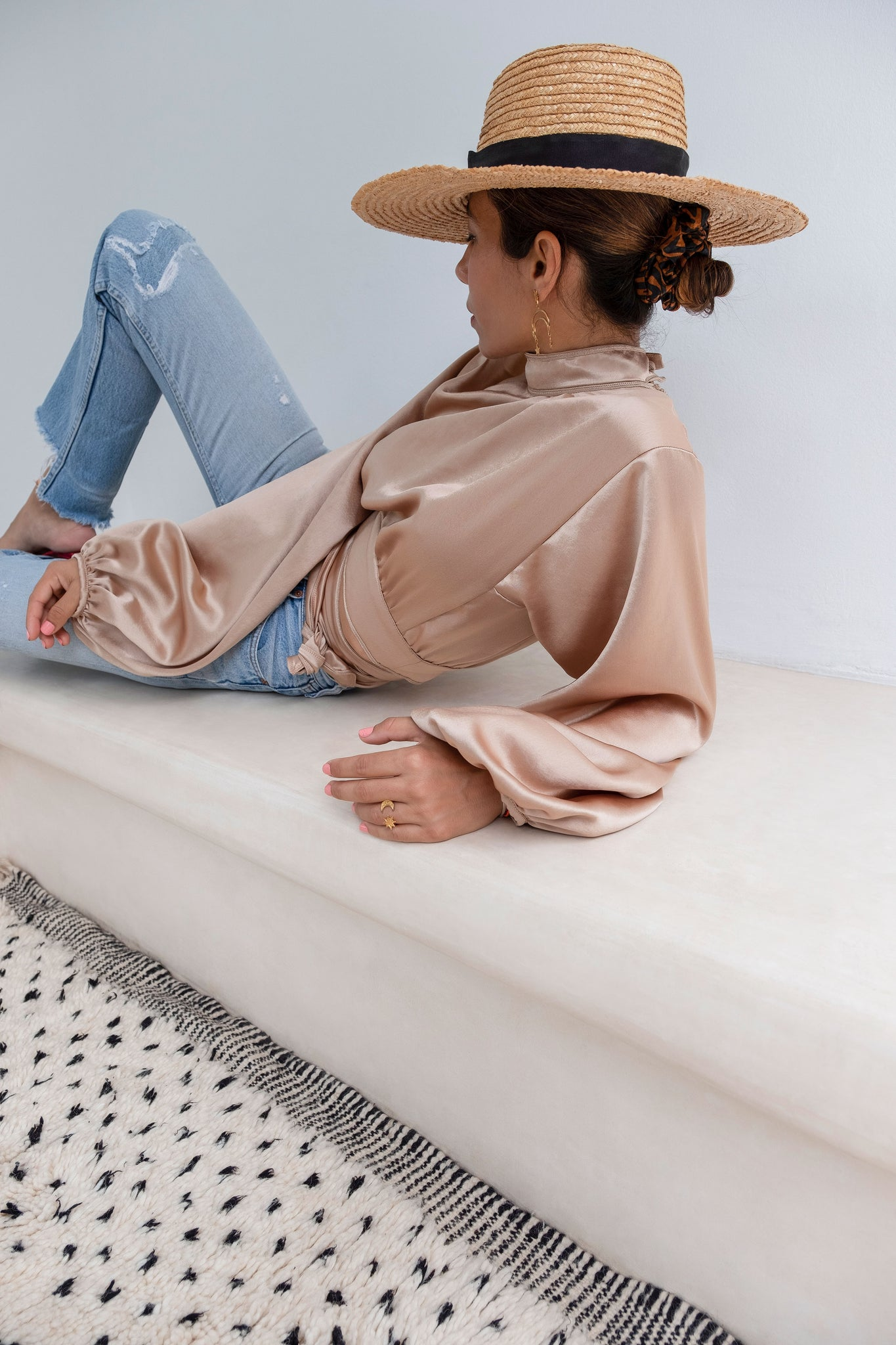 Hammam Brown Open-Back Silk-Satin Wrap Blouse