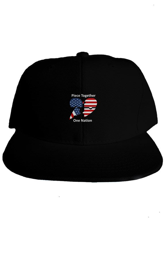 Classic Snapback Cap - Piece Together One Nation Embroidery - Puzzlicious.com