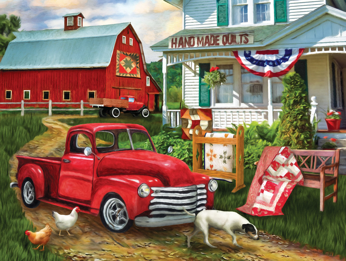 Stopping at the Farm 500 Piece Puzzle - Puzzlicious.com