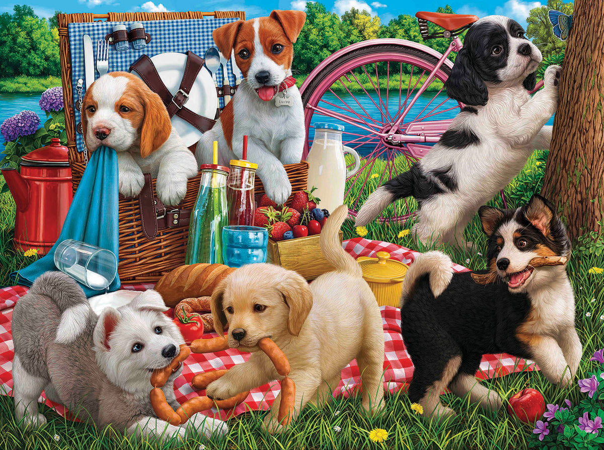 Puppies on a Picnic 500 Piece Puzzle - Quick Ship - Puzzlicious.com