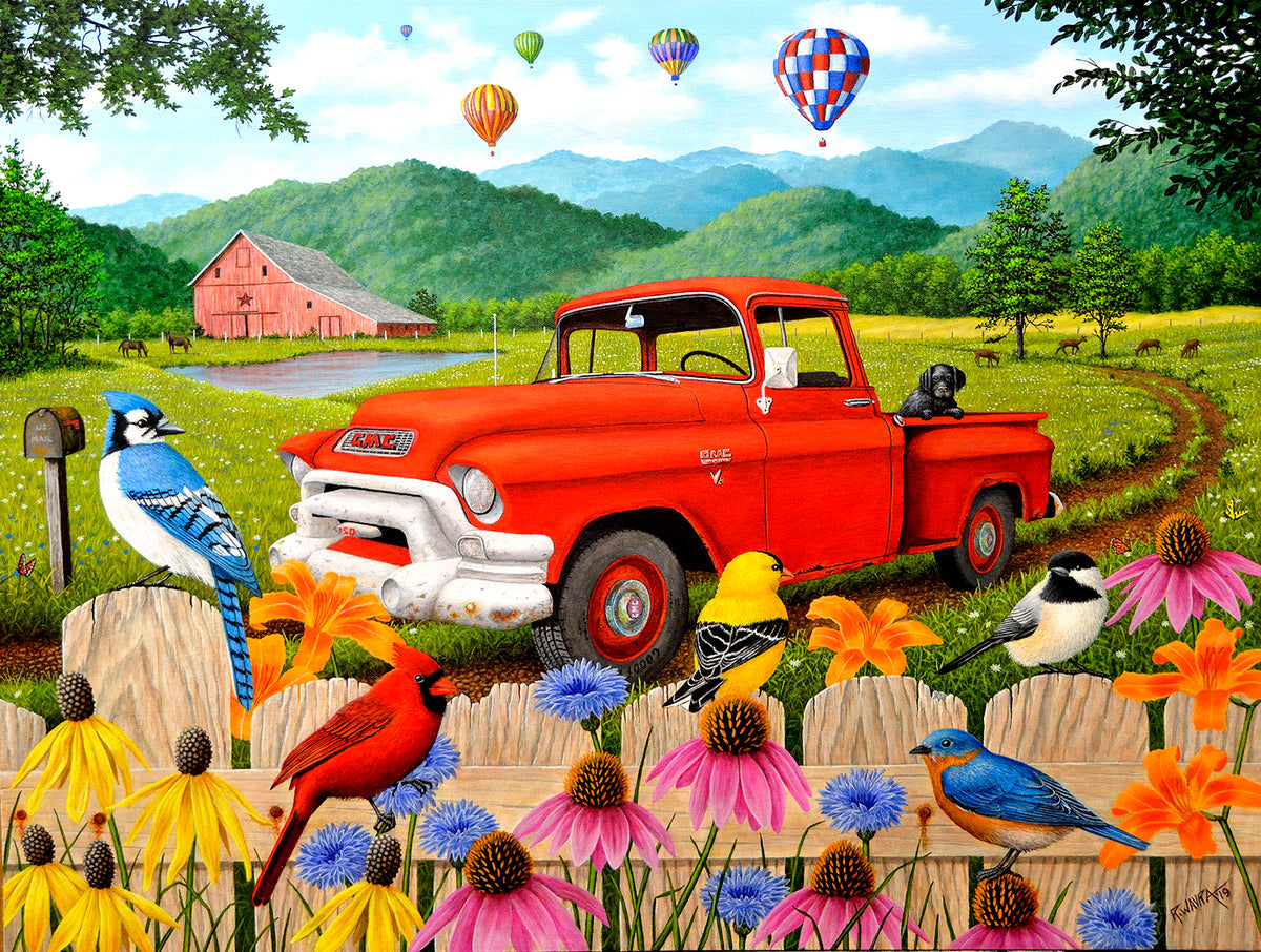The Red Truck 500 Piece Puzzle - Quick Ship - Puzzlicious.com