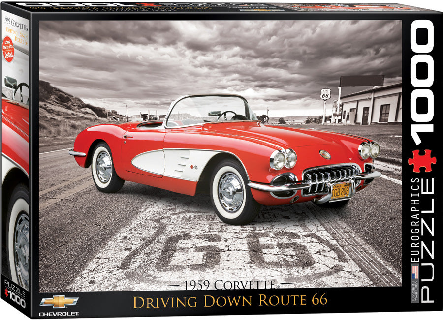 1959 Corvette Driving Down Route 66 1000 Piece Puzzle - Quick Ship - Puzzlicious.com