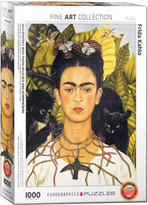 Frida Kahlo Self-Portrait with Thorn Necklace and Hummingbird 1000 Piece Puzzle - Quick Ship - Puzzlicious.com