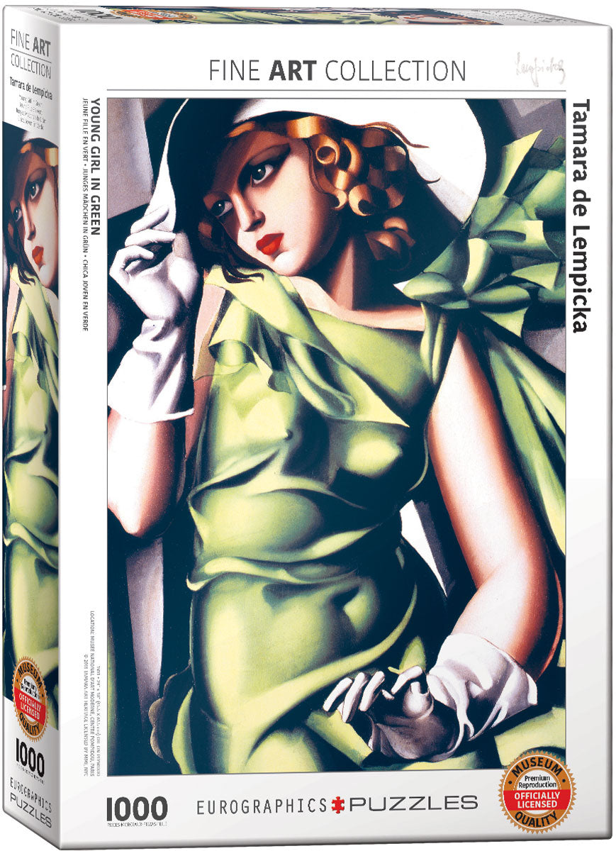 Tamara de Lempicka's Young Girl in Green 1000 Piece Puzzle - Quick Ship - Puzzlicious.com