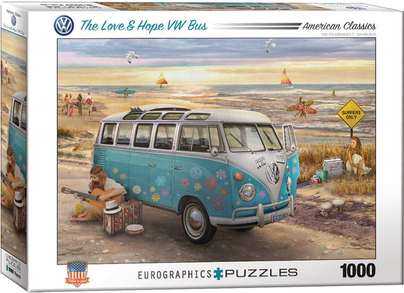 The Love & Hope VW Bus 1000 Piece Puzzle - Quick Ship - Puzzlicious.com