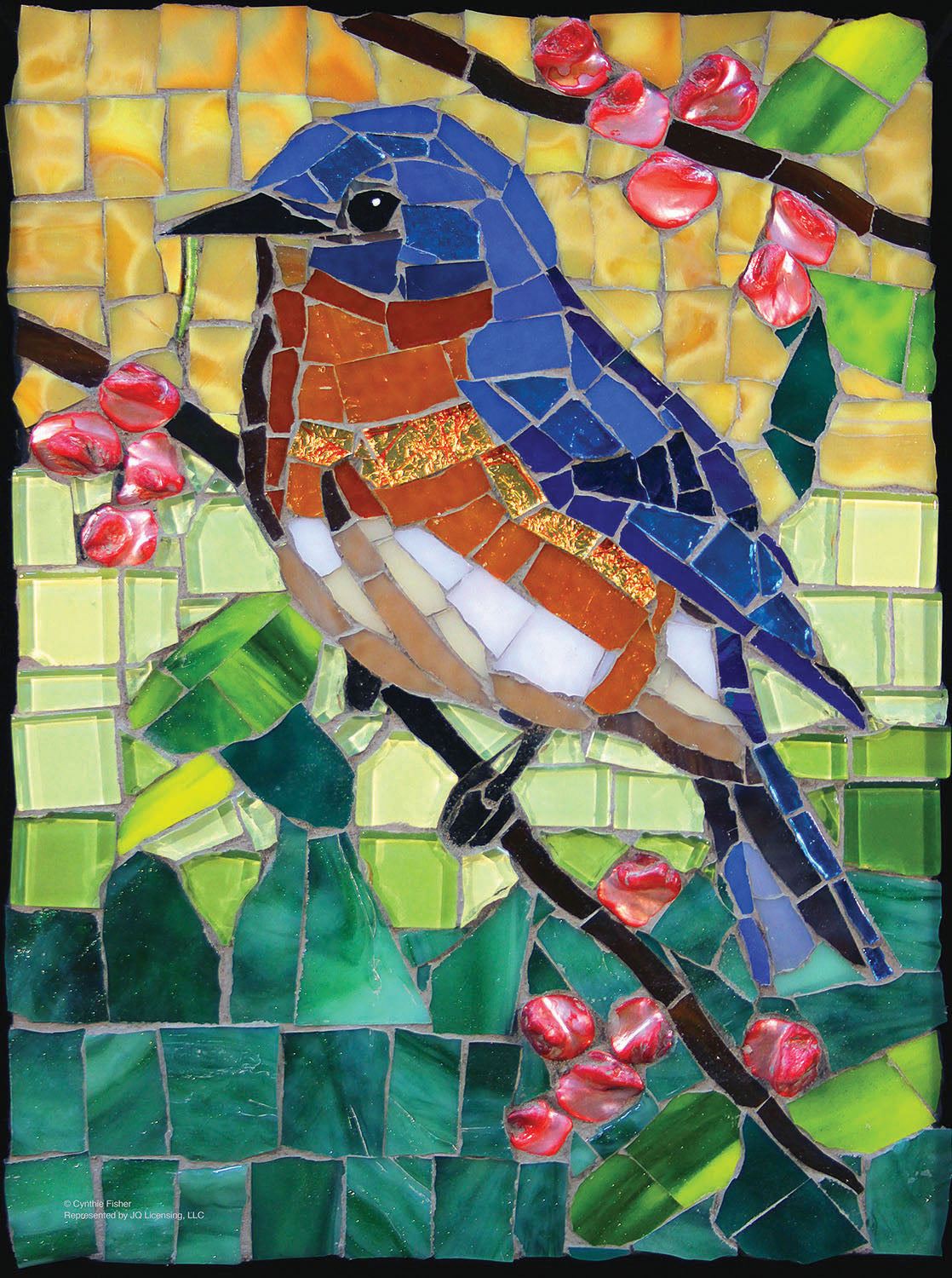 Stained Glass Bluebird 1000 Piece Puzzle - Puzzlicious.com
