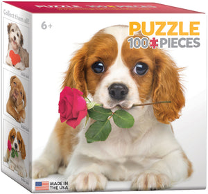 Dog with Rose 100 Piece Mini Puzzle - Quick Ship - Puzzlicious.com