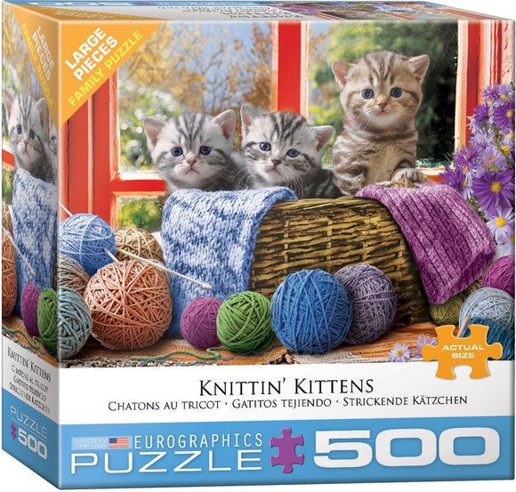 Knittin' Kittens 500 Piece Puzzle - Quick Ship - Puzzlicious.com
