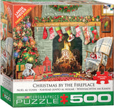 Christmas by the Fireplace 500 Piece Puzzle - Quick Ship - Puzzlicious.com