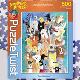 Colorful Canines 500 Piece Puzzle Twist Jigsaw Puzzle - Quick Ship - Puzzlicious.com