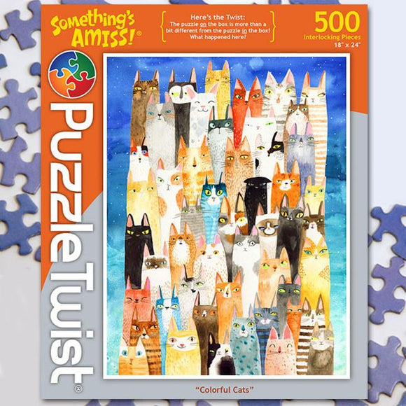 Colorful Cats 500 Piece Puzzle Twist Jigsaw Puzzle - Quick Ship - Puzzlicious.com